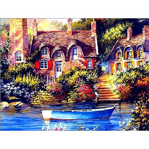 DIY 5D Diamond Painting by Number Kit, Streamside House Embroidery Paintings Rhinestone Pasted DIY Cross Stitch Arts Craft Canvas Wall Decor (30x40cm)