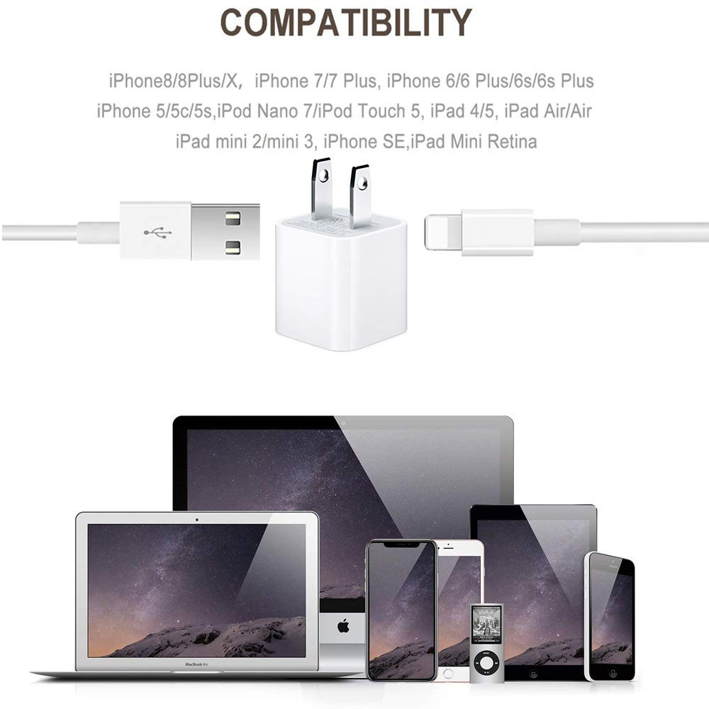 Farrinne iPhone Charger 2-Pack Wire Data Sync Charging Cord Compatible with iPhone X//8 Plus//7 Plus//6S//6 Plus//6S Plus//5//5S//5C//XS//XR//XS Max