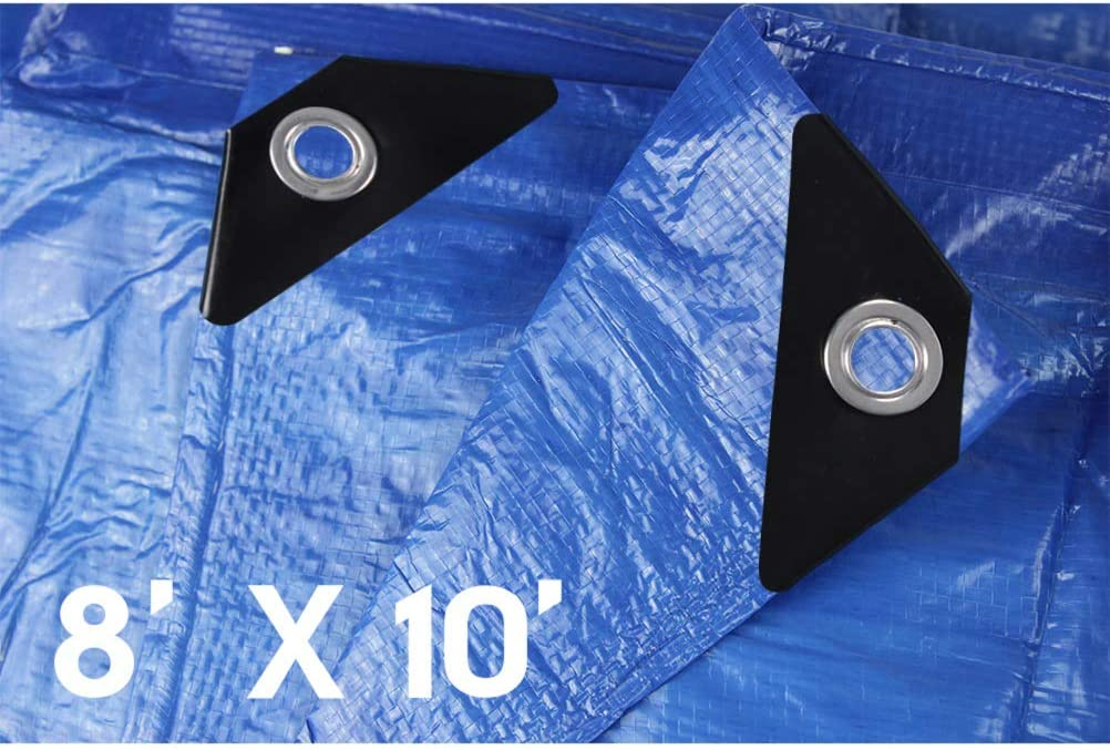 Hanjet 12 x 16 5-mil Thick Blue Camping Tent Shelter Rain Tarps Shade Cover