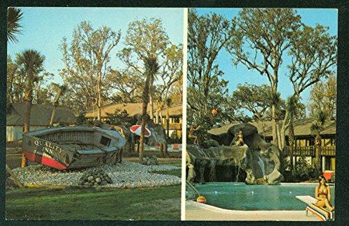 SAVANNAH GEORGIA Quality Inn Pool and Boat Split Hotel Vintage Postcard