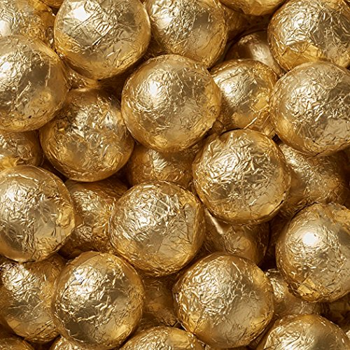 Just Candy Solid Milk Chocolate Foiled Balls Gold 10lb case -