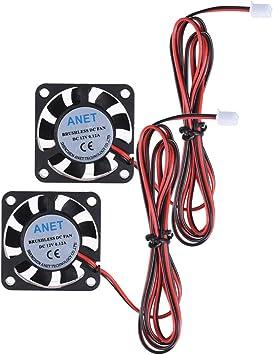 UEETEK 2pcs 4010 DC 12V Ventilador de refrigeración sin escobillas ...