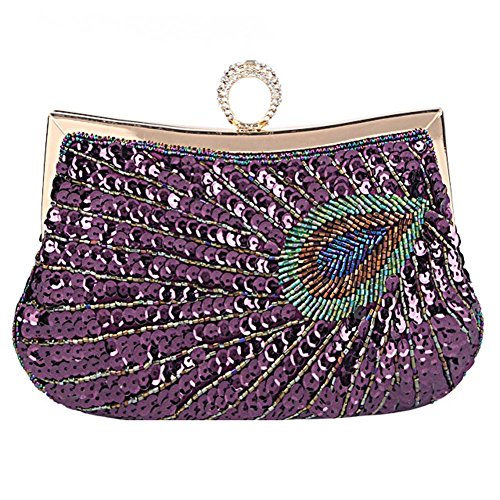 purple Paillettes 23 X one Peacock sera Party da Bags 18cm da Wedding Dinner Beaded NVBAO donna Antique size Clutch Borsa gold 6q8RR
