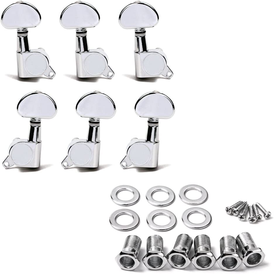 Silver//Half Round Healifty 6 piezas 3L3R Sealed Electric Guitar String Tuning Pegs Tuners Machine Heads Chrome with Mounting Screws Ferrules Bushings for Acoustic Electric Guitar