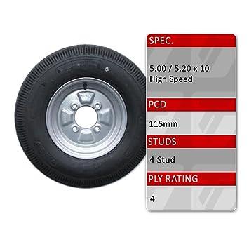5.00 - 10 neumático de remolque y rueda de repuesto 4 PLY - 4 Stud 115 mm PCD: Amazon.es: Coche y moto