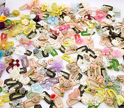 PET SHOW Handmade Flowers Pet Small Dogs Hair Bows Clips for Short Hairs Animals Cats Puppy Grooming Hair Clips Accessories Random Color Pack of 10