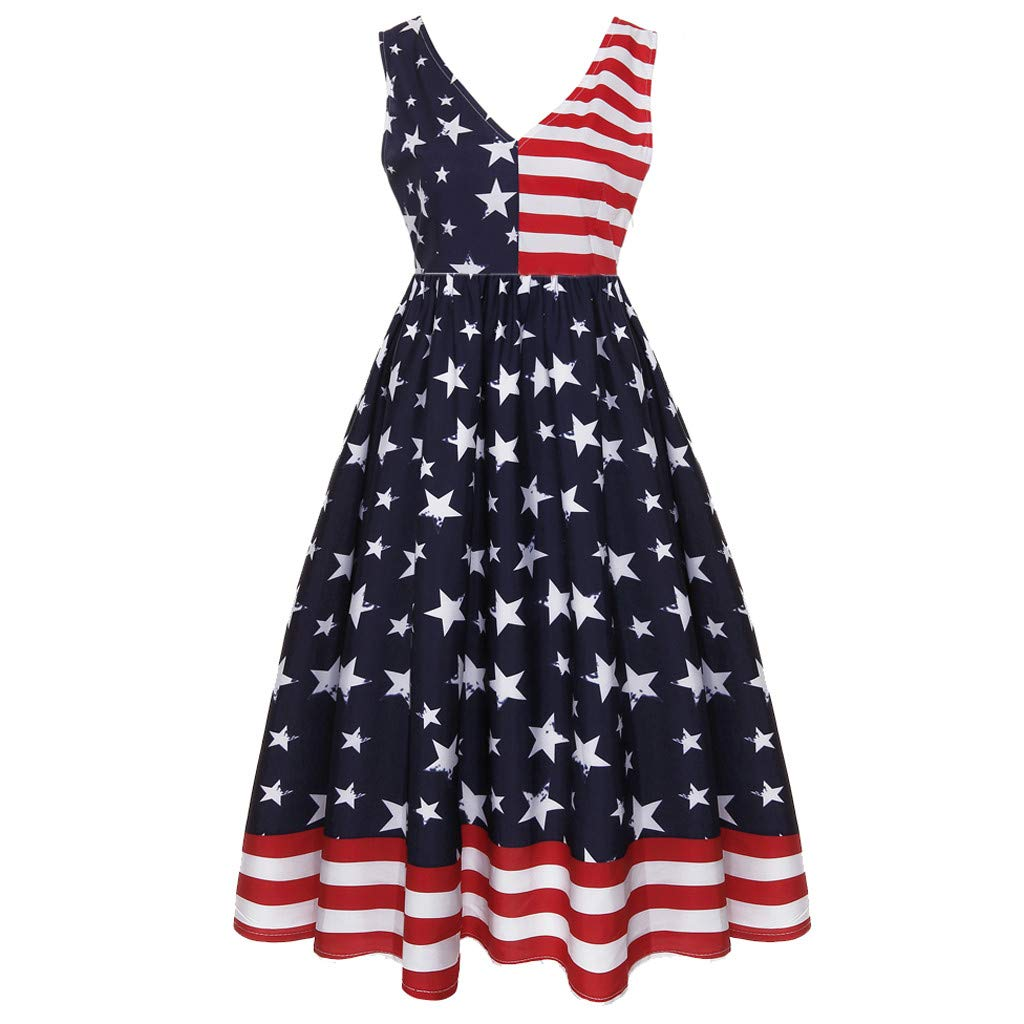 JJLIKER Womens 4th July American Flag Stars Stripes Print Casual Swing Maxi Dress Sleeveless Empire Waist Midi Dresses