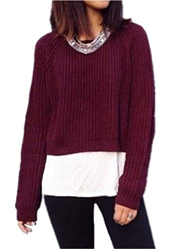 Kerlana Tops Mujeres Camiseta Cuello Redondo De Manga Larga Blusa Casual Maglia Knitted Color sólido...