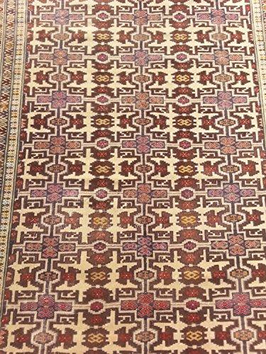 Handcraftigo Size:7 ft by 4.9 ft Handmade Rug Vintage Afghan Tribal Woran Camel Wool Herati Carpet ()