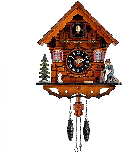 Kintrot Cuckoo Clock Traditional Black Forest Clock Antique Wooden Pendulum Quartz Wall Clock