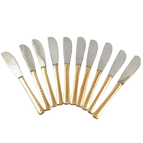 Tradicional indio de la porción Tenedor de cocina Accesorios de cobre Juego de cubiertos de 10