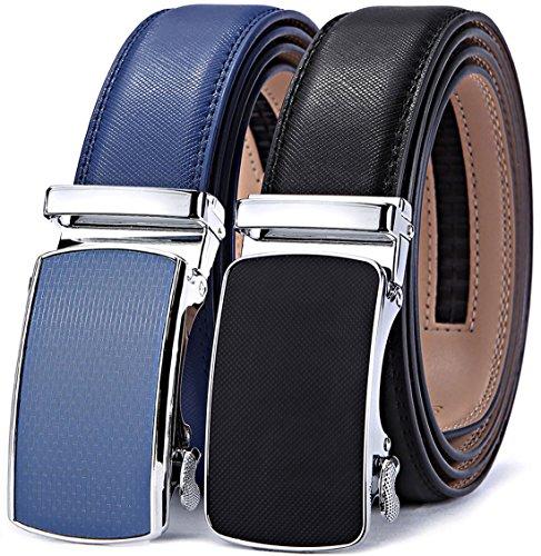 Mens Belt,Bulliant Leather Ratchet Click Belt for Men Father's Gift,Size Adjustable,2 Units Gift-Boxed ()