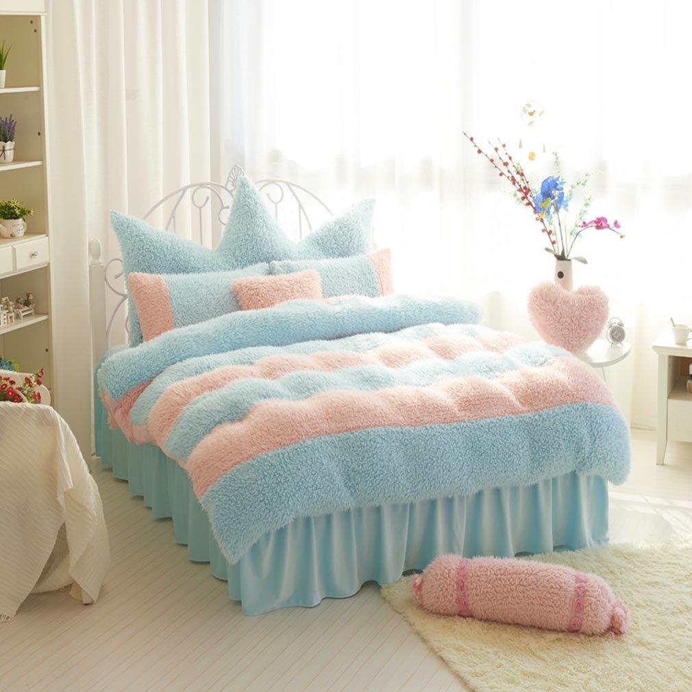 SAYM Home Bedding Sets Korean Fashion Elegant Lovely Style Soft Velvet Queen Size Set For Lovely Princess Teen Girls, Pricess,Lady 100% Polyester Duvet Cover, Bed Skirt, Shams Set 4Pieces