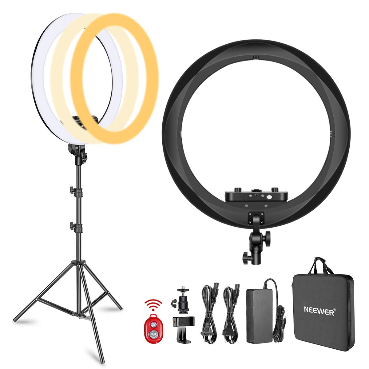 Neewer Ring Light Kit [Upgraded Version-1.8cm Ultra Slim]-18 inches,3200-5600K,Dimmable LED Ring Light with Light Stand, Phone Clip,Hot Shoe Adapter for Portrait Makeup Video Shooting (Black) by Neewer