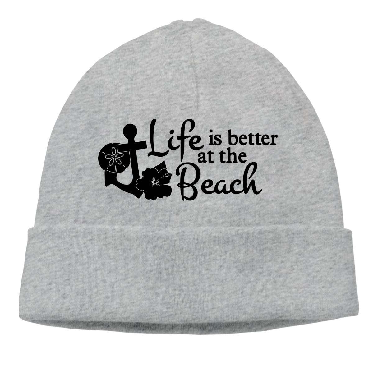 A17BTM Mens and Womens Skullies Beanies Life is Better at The Beach Cute Skull Cap Sports Fan Warm Hat Gray