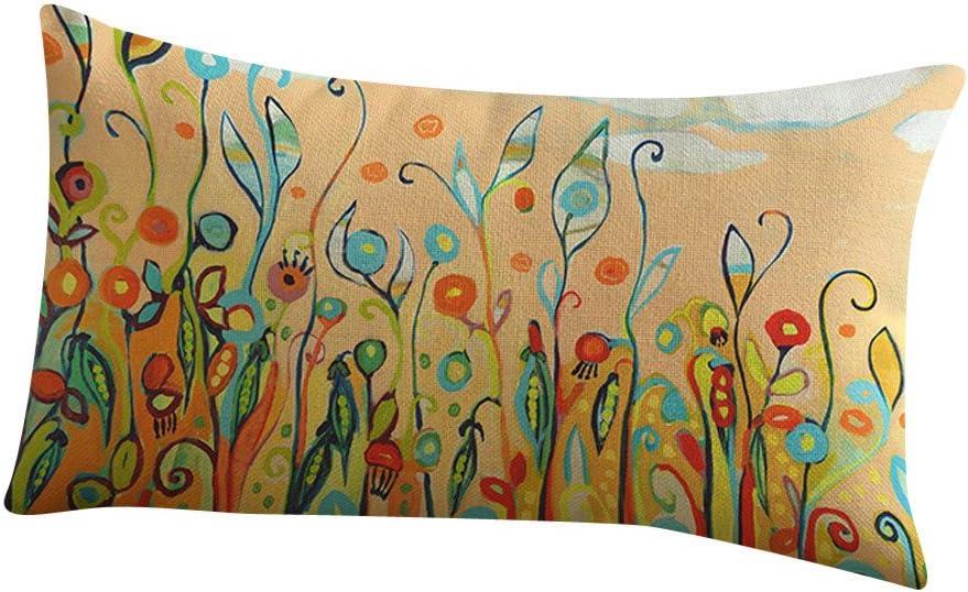 Multicolor 1 Kangrunmy Taie doreiller 30X50 Cm Coton Lin Rectangulaire Imprim/é Fleur Doux Et /éLegant Vintage Decoration Chic Mode Housse De Coussin pour Canap/É Lit Accueil