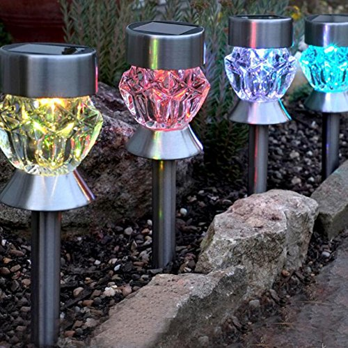 4 Pcs Led Solar Lawn Energy Efficient Light Garden Light Outdoor 7Color Changing Solar Pathway Light Stainless Steel For Walkway Patio Yard Lawn Driveway Pathway Garden Light  7Color