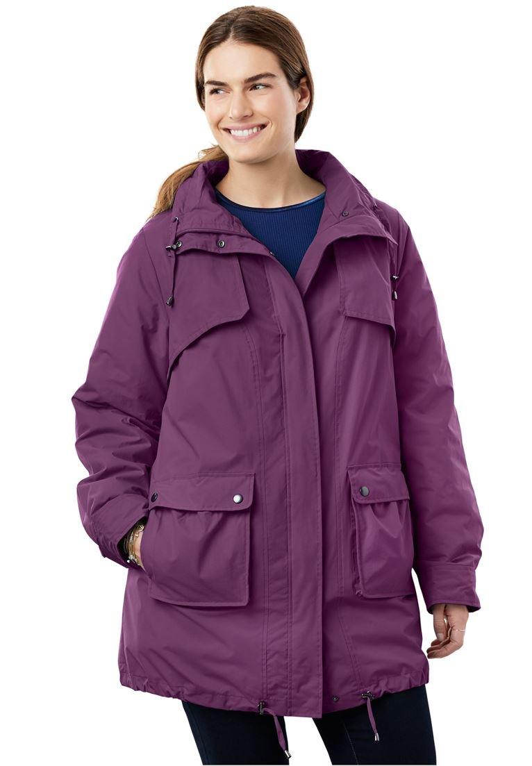 Women's Plus Size Quick Drying Taslon Parka Fleece-Lined Jacket Plum Purple,3X
