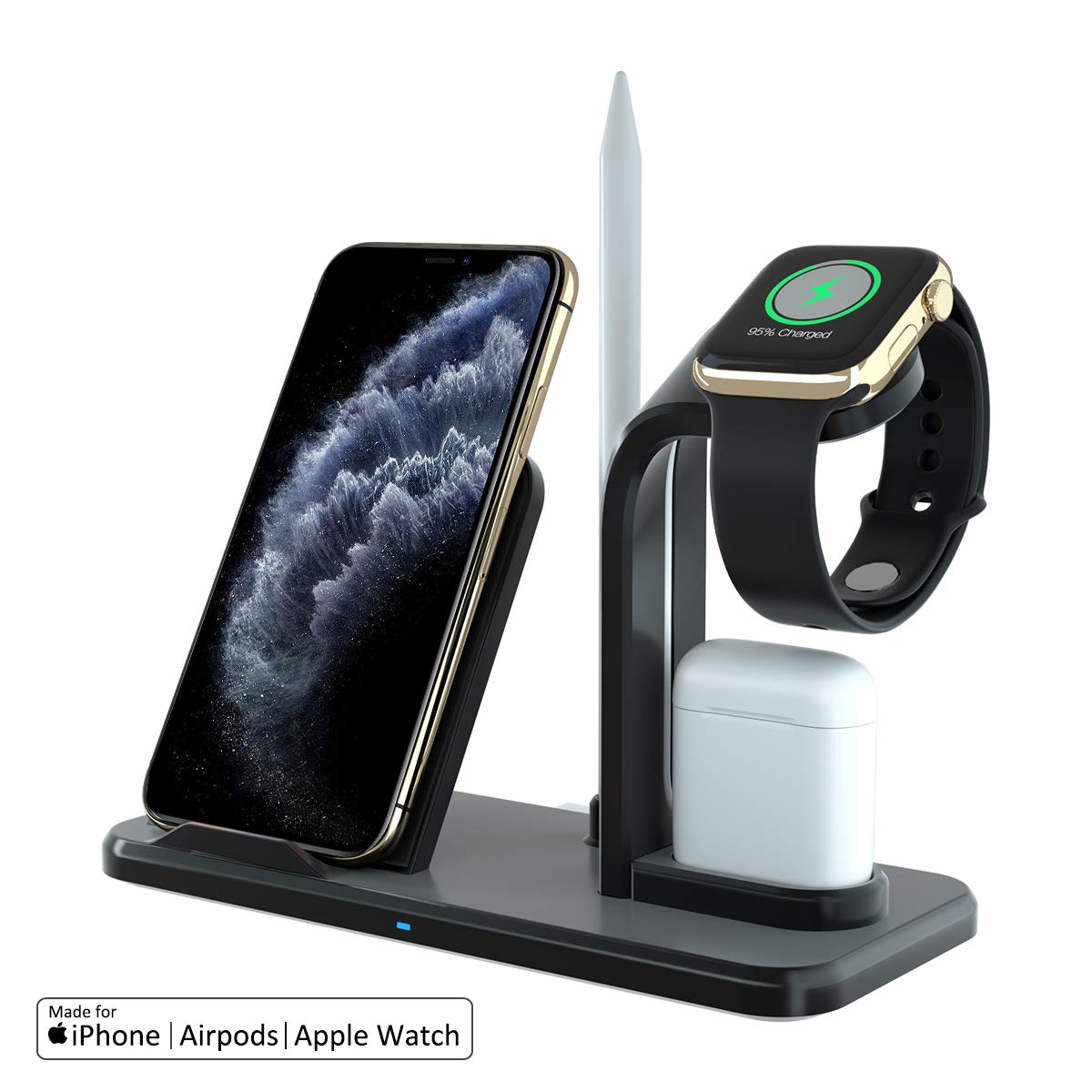 GOSETH Wireless Charger 3 in 1 Charging Holder Compatible with Apple Watch Series 5 4 3 2 1&AirPods, 10W Qi Wireless Charging for iPhone 11 Pro Max/11 ...