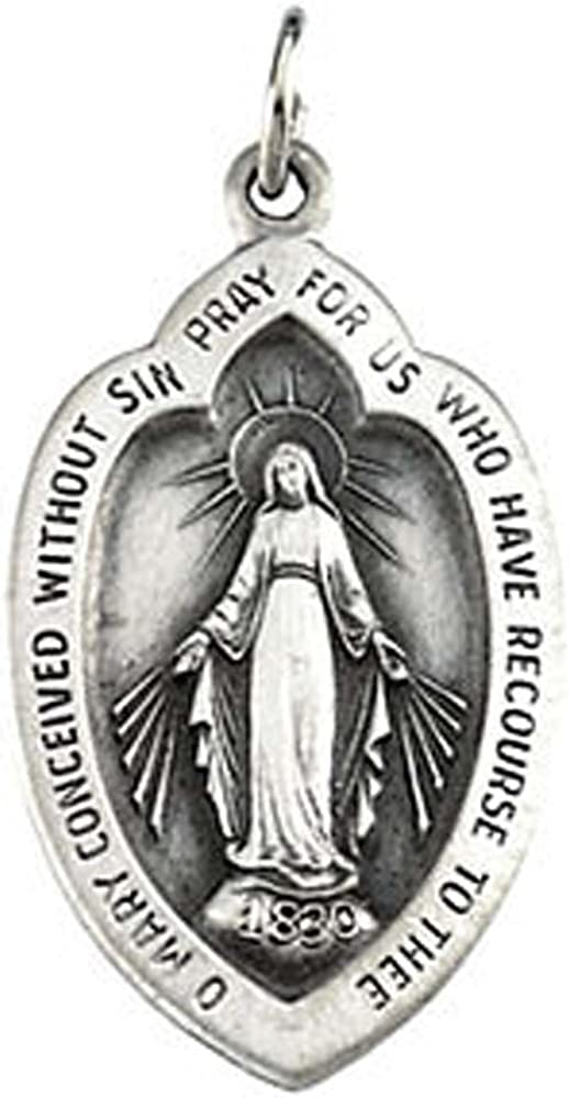23.00x15.00 mm Badge-shaped Miraculous Medal with 18 inch Chain in Sterling Silver