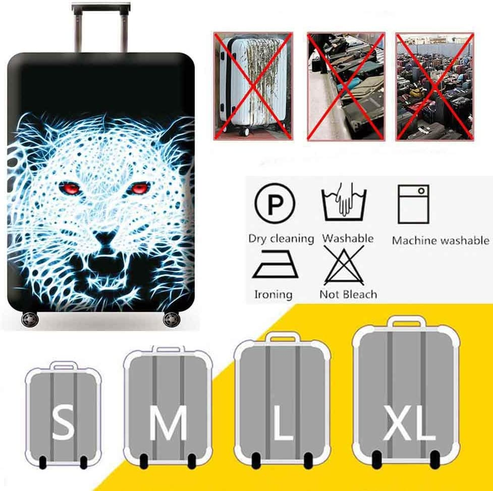 HBWZ Travel Luggage Protective Covers for 18-32 Suitcase Elastic Thick Wear Protection Sleeve,Whitetiger,M