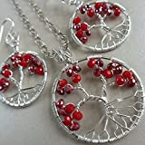 Ruby Tree of Life Jewelry Set Christmas Gift Set Ruby Tree of Life Set Ruby Jewelry Christmas Jewelry