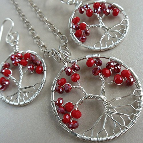 Ruby Tree of Life Jewelry Set Christmas Gift Set Ruby Tree of Life Set Ruby Jewelry Christmas Jewelry by Rebellious Trees