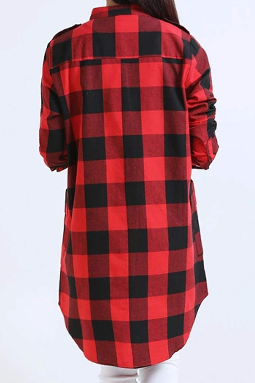 Blusas Mujer Primavera Otoño Camisa De Leñador Cómodo Manga Larga Camisas Basic Casuales A Cuadros Irregularmente Botonadura Shirts Tops Ropa (Color : Azul Oscuro, Size : S): Amazon.es: Ropa y accesorios