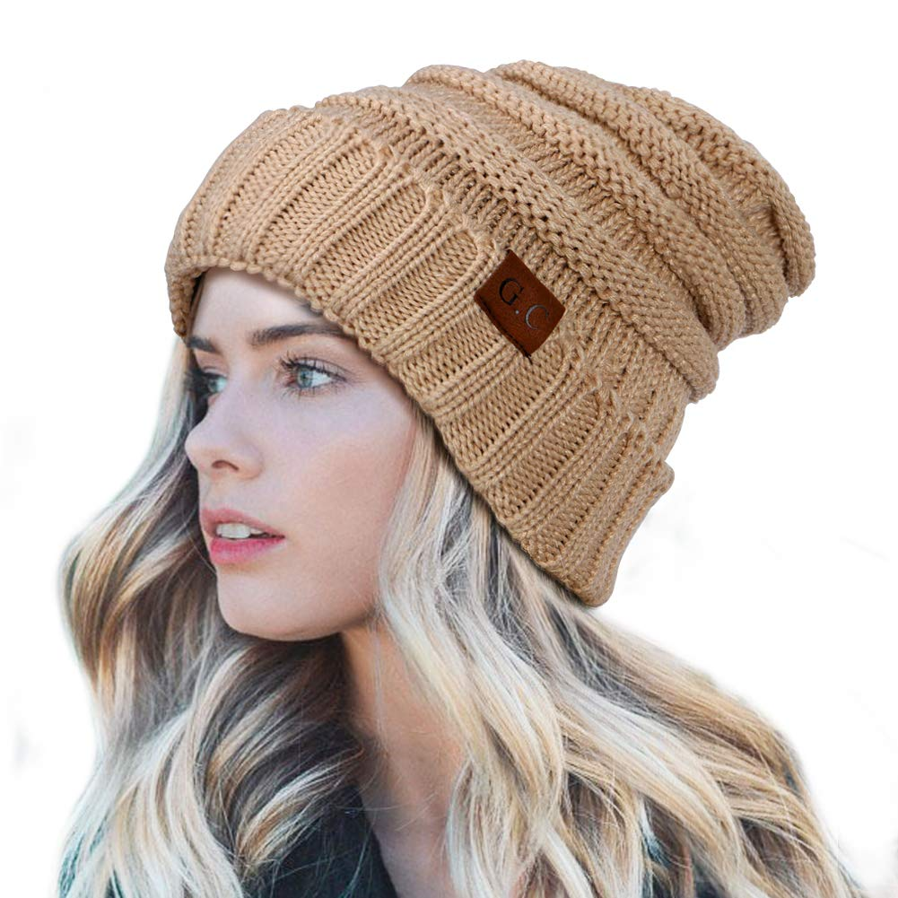VAMEI Winter Trendy Warm Oversized Chunky Baggy Stretchy Slouchy Skully Beanie  Hat for Women (Beige) at Amazon Women s Clothing store  af4939430e9