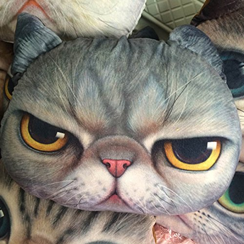 99 Sofa (HuaYang Stylish Cat Head Shape Pillow Car Sofa Chair Back Cushion(Dark Gray Meow))