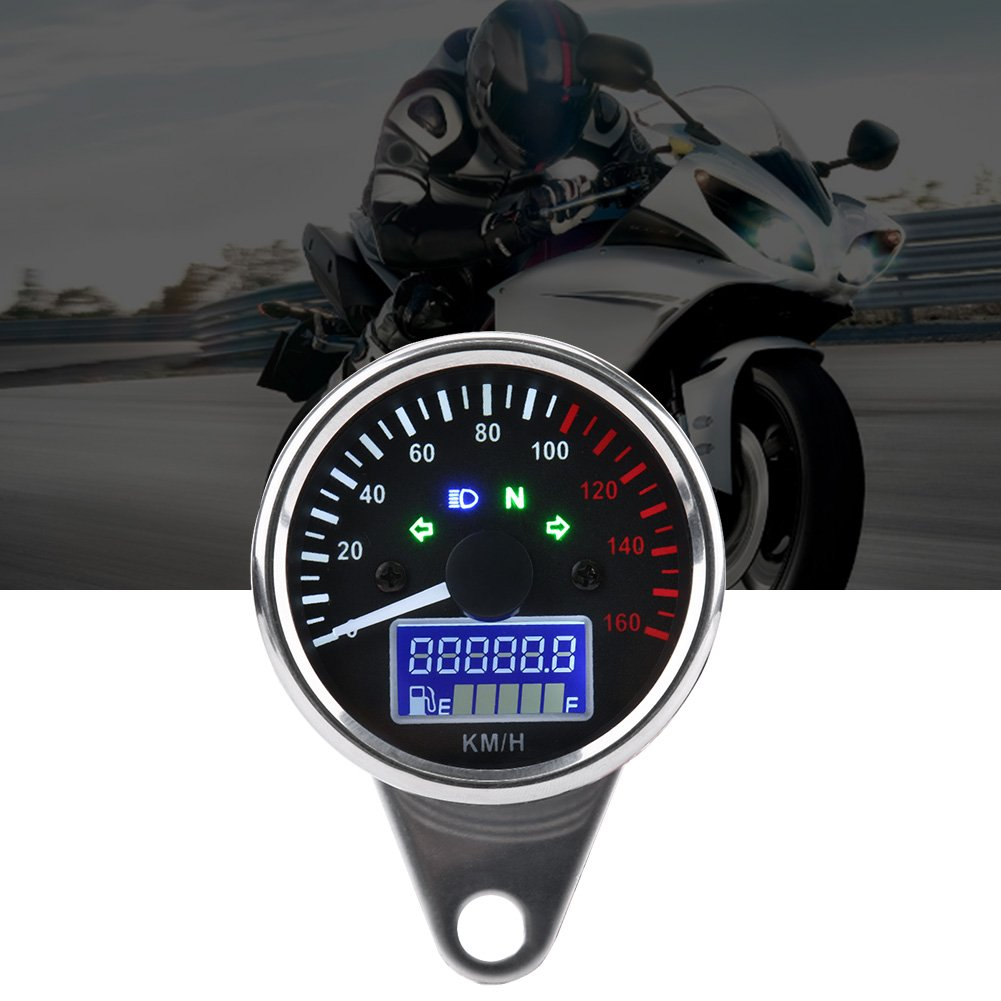 kimiss universelle 0/~ 160/km//H tachym/ètre du compteur de la moto universelle Chrome Retro compteur LED num/érique Speed Speed Compteur