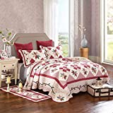 Geometric Quilt Set Full/Queen Girls Exquisite Floral Printed Cotton Coverlet Set Handmade Patchwork Quilt Bedspread Set Jacquard Quilt Set Reversible Coverlet Set All Seasons Pre-washed Quilt Set