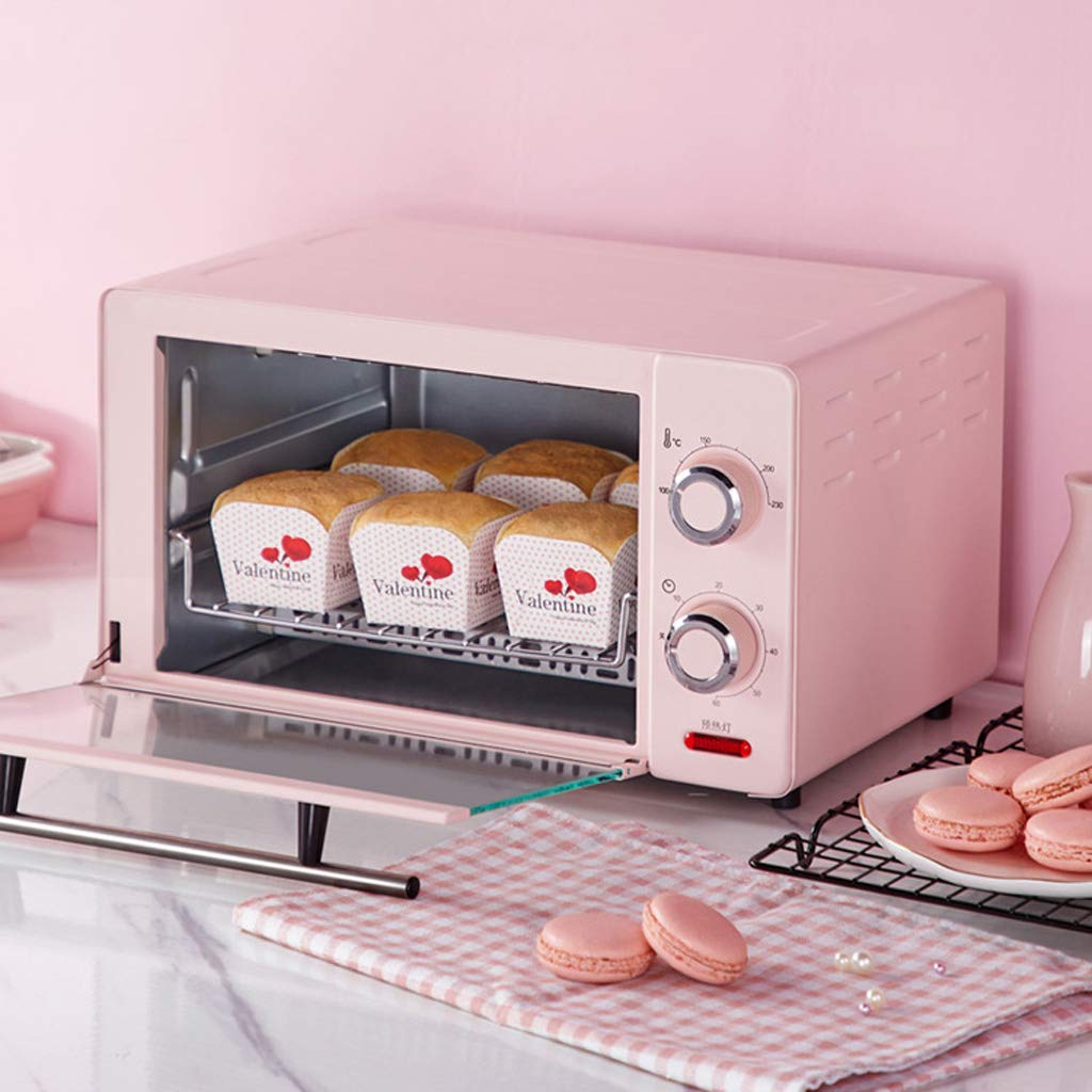 Countertop Toaster Oven, 60-Min Timer Adjustable Temperature 100~230°C With Stay-On Function Rotisserie, Bake, Grill, Broil, Roast, Toast, Keep Warm, 11l Capacity Pink