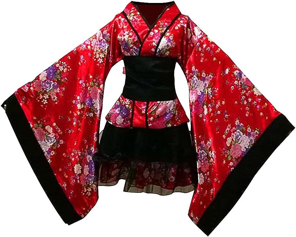 LUOEM Traje de criada tradicional japonesa Kimono Cosplay Outfit Maid Costume Dress Size S (Red): Amazon.es: Ropa y accesorios