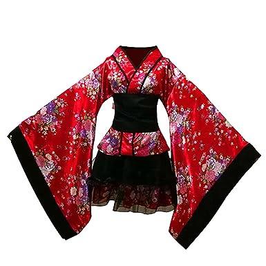 Amazon.com: OULII tradicional japonés MAID vestido kimono ...