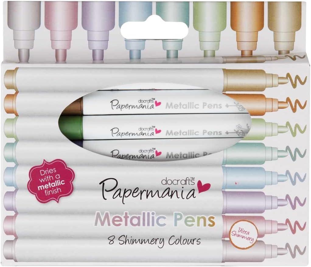 Papermania Metallic Pens - Rotulador permanente (con punta redonda, 0.5 mm, 8 unidades), multicolor