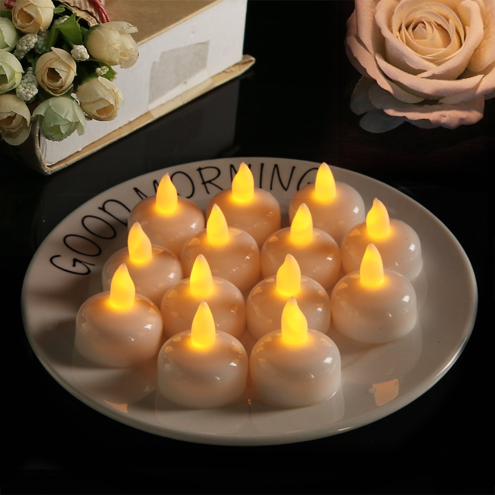 Homemory 24PCS Waterproof Floating Tealights LED Flameless Flickering Tealight Candles Battery Operated for Wedding, Party, Bathroom, Pool, SPA - Amber Yellow by Homemory (Image #6)
