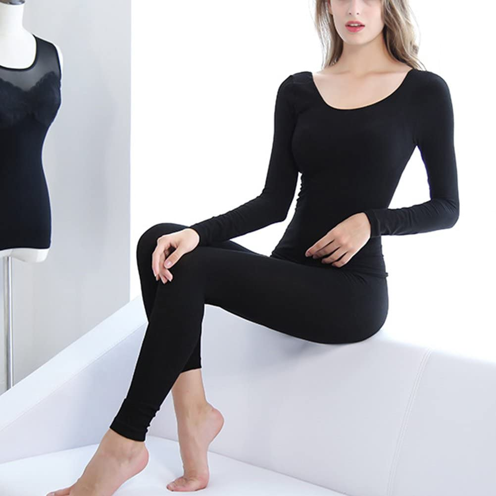 Zhhlinyuan Ropa Interior t/érmica Mujer Ladies Long Sleeve Lingerie Slim Shirt Thermal Body Clothes Womens Warm Soft Underwear Tops