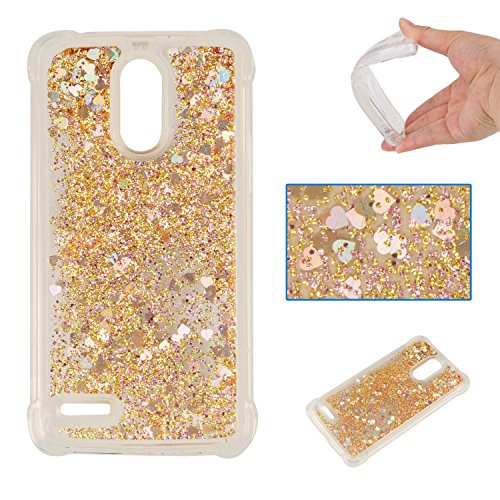 DAMONDY LG Stylo 3 Case,LG Stylus 3 Case, 3D Cute Bling Liquid Glitter Shock Absorption Bumper Floating Quicksand Diamond Flowing Ultra Clear Soft TPU Case for LG Stylo 3/ LS777 -Gold ()