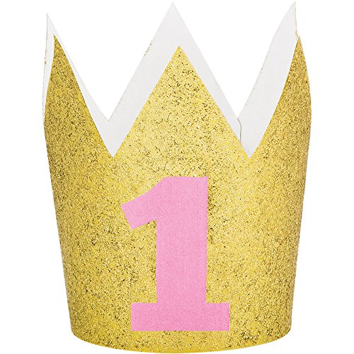 Party Central Set of 6 Gold and Pink Glittered Finish Hat Crowns 4'' by Party Central