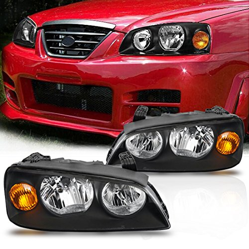 Headlight Assembly for 04-06 Hyundai Elantra Replacement Headlamp Driving Light Black Housing Amber Reflector Clear Lens,2 Year Warranty (Pair Hyundai Elantra Headlight)