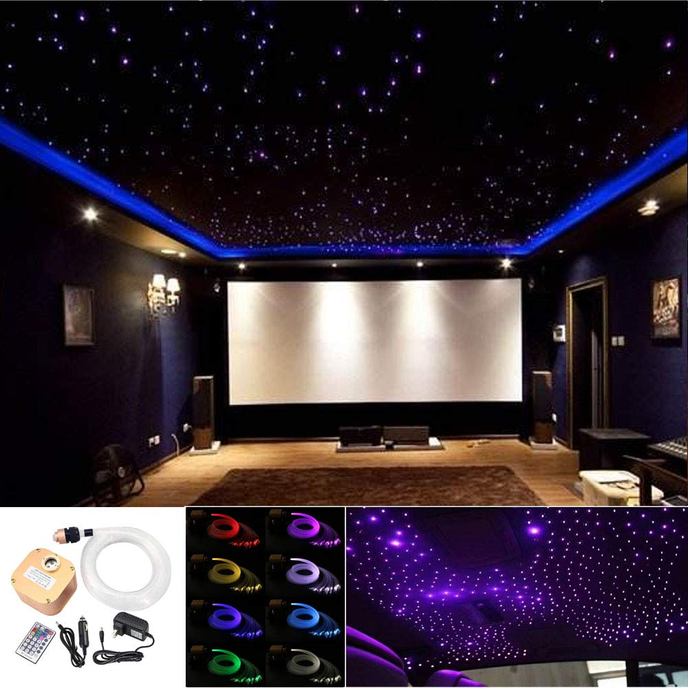 Huaxi 16W RGBW Twinkle Fiber Optic Lights Star Ceiling Light Kit Car Home Use, LED Light Source + Optical Fiber Cable 430pcs 9.8ft/3m (0.75+1.0+1.5mm) + 28key Remote Control + Crystal
