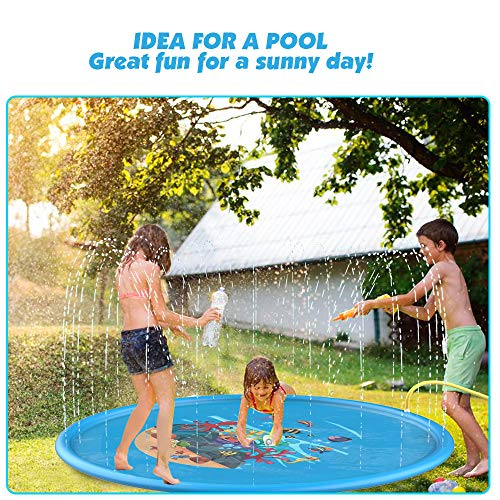 D-FantiX 68inches Splash Pad, Large Kids Sprinkler Splash Mat Play Wading Pool Outdoor Yard Water Mat Toys for Toddlers Dogs