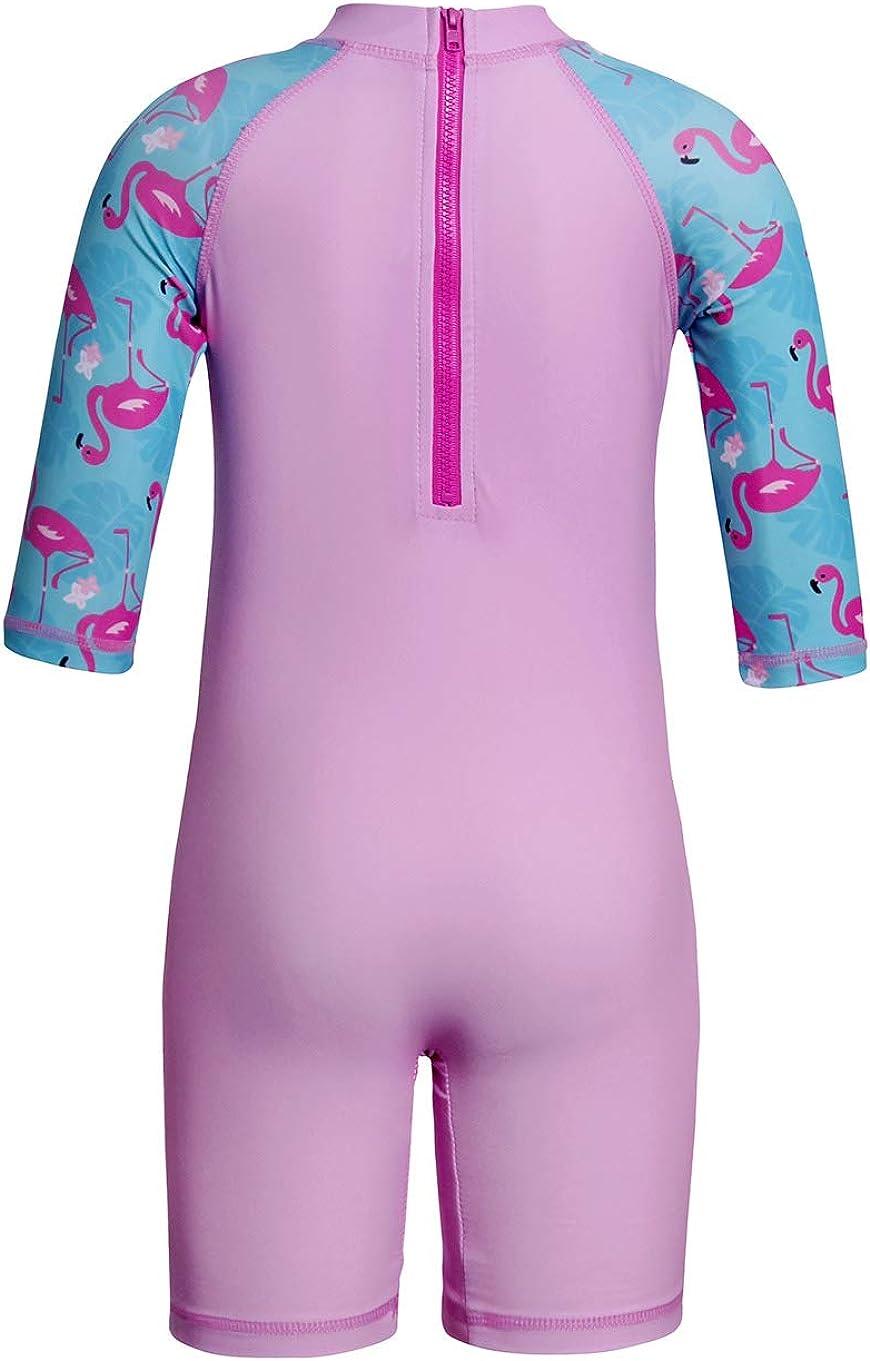 UV Sun Protection Short Sleeve One Piece Swimwear with Swim Hat Set Girl Unicorn Rash Guard Swimsuit UPF 50