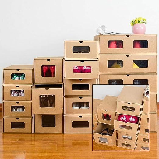 Ritapreaty Cajas de Almacenamiento de Zapatos de cartón, Caja de Almacenamiento Visible con cajón, respetuosa con el Medio Ambiente, Plegable, ...