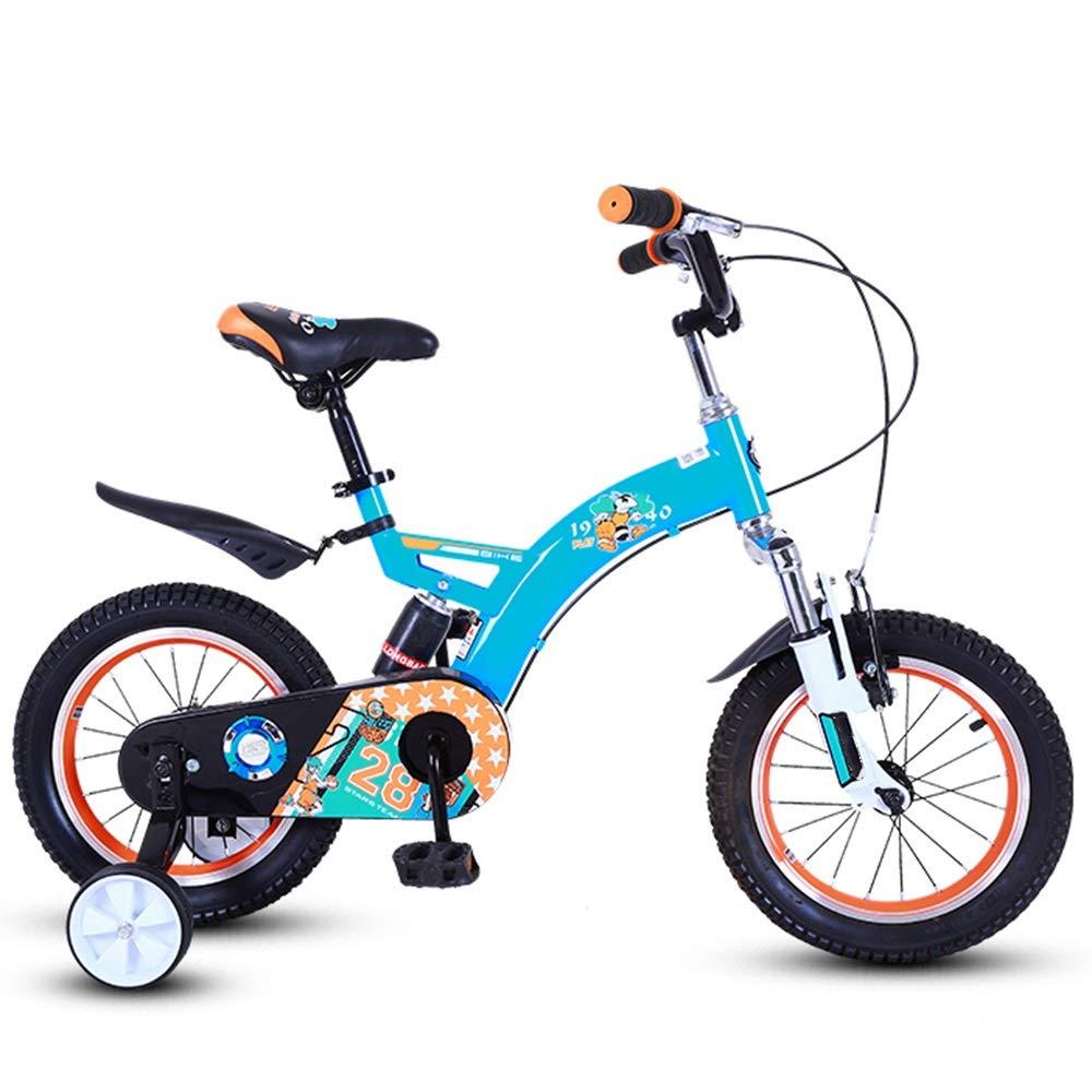 YUMEIGE 子ども用自転車 子供用自転車、子供用自転車用トレーニングホイール12/14インチ男の子と女の子用サイクリング、25歳の子供に最適 利用できるサイズ 14in 青 B07QFMLD8S