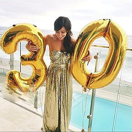 Gold, 40 Zoll Helium Folie Luftballon 30 Geburtstag Folienballon Geburtstag Dekoration Set Riesen Folienballon Fur Party Ouinne Ballon Zahl 30