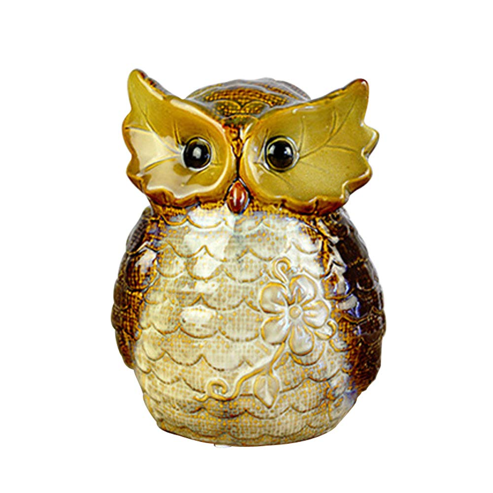ADbank Ceramic Piggy Bank Coin Storage, Money Box Owl Gifts for Children Friends, Also Ornaments for Room Decorations,C by ADbank