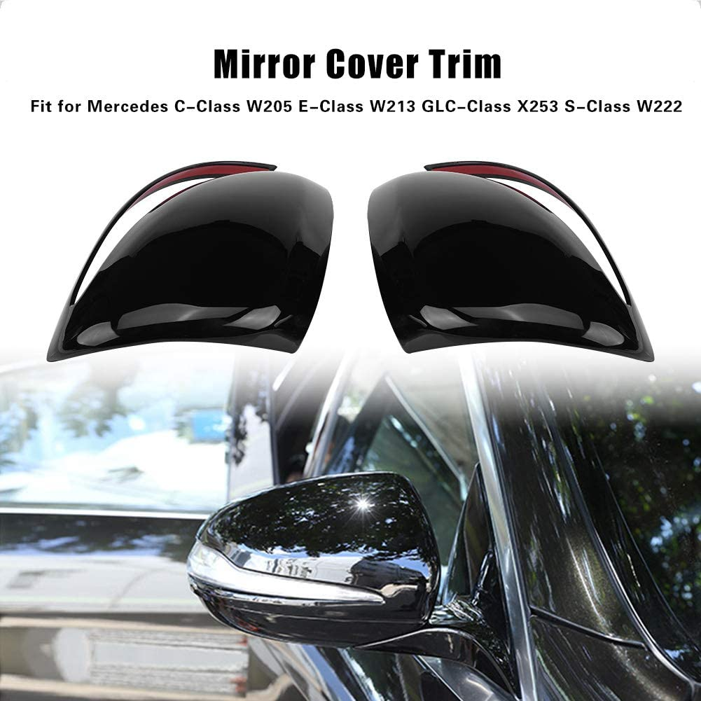 Car Rear View Mirror Cover Lid Cover for C-Class W205 E-Class W213 GLC-Class X253 S-Clas default Piano Black