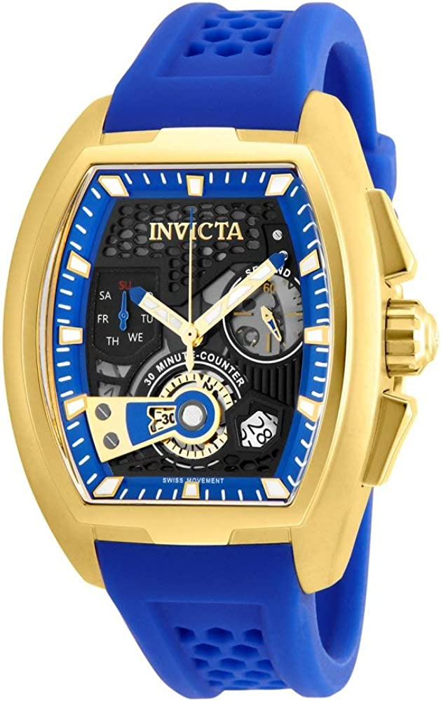 Invicta Men s S1 Rally Stainless Steel Quartz Watch with Silicone Strap, Blue, 20.1 Model 26399